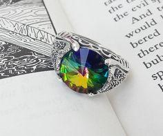 Gothic Mens Ring / Sterling Silver Unisex Ring / SWAROVSKI