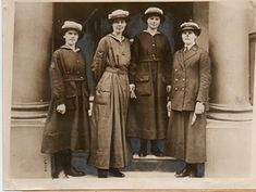 the first world war highly influence fashion. as men went off to fight, women took on their jobs and even volunteered to join the army. most of the jobs required uniforms hence the military look and the above ankle hemlines.