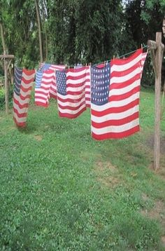 U.S. Flags hung outside to dry