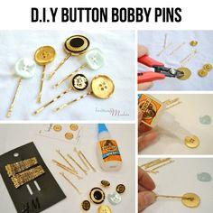DIY Button Bobby Pins diy craft crafts craft ideas easy crafts diy ideas easy diy craft accessories hair craft diy hair pin
