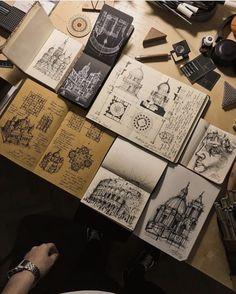 Architecture Sketchbook, Art Sketchbook, Architecture Art, Fashion Sketchbook, Creepy Drawings, Doodle Drawings, Watercolor Sketch, Pen Art, Art Portfolio