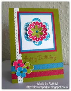 Flower Sparkle: Printed Petals Happy Birthday Card - Simply Stampin' Challenge #58