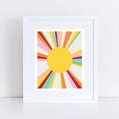 sun art print - colourful decor kids nursery art children baby girl boy gender neutral yellow multicoloured - rainbow bright, sunshine, fun