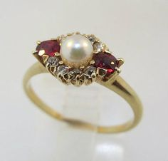 14k-Yellow-Gold-Pearl-Ring-with-2-Ruby-and-8-Single-Cut-Diamond-Accents-Size-5
