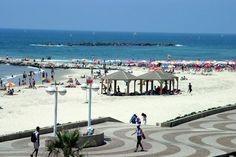 Beautiful Tel Aviv beach in Israel - swimming in the Mediterranean