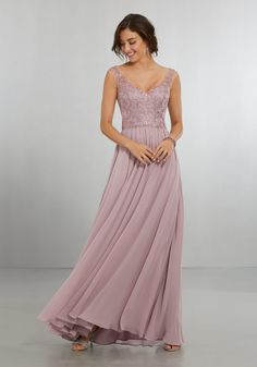 4567acc922f Chiffon Bridesmaids Dress with Intricately Embroidered and Beaded Bodice