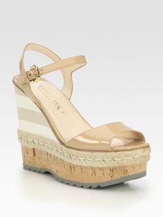 69e530bf141 Prada Patent Leather Espadrille Wedge Sandals in Beige