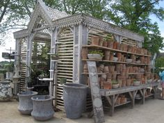 Love the detailing. Reminds me of the early lathe/slat greenhouses on the side of Victorian Era Australia houses.   Terrain Nursery, Pennsylvania.