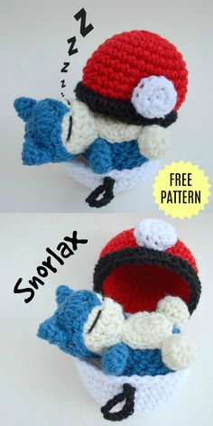 Sleep all day with this Snorlax Amigurumi in this cutest Pokemon Free Crochet Pattern. Gotta crochet 'em all! Both written pattern and video crochet tutorial included! And don't forget to crochet the Pokeball for him to sleep in! Pokemon Crochet Pattern, Pikachu Crochet, Crochet Patterns Amigurumi, Crochet Dolls, Crochet Cats, Crochet Birds, Knitted Dolls, Crochet Animals, Thread Crochet