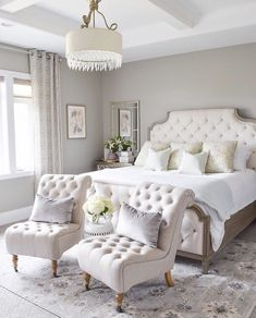 Soft, feminine and serene that's what these bedrooms are. Soft colors with pops of color in decor, add a blanket and a couple of pillows to make it all come together and you have your own feminine bedroom.