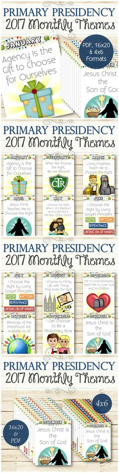 "The monthly themes for the 2017 Primary theme ""Choose the Right."" These 12…"