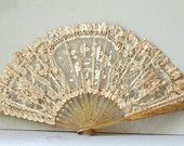 Rare French Antique Fan with Lace and Horn 19th Century // Antique French Fan