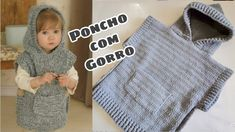 Baby Poncho, Kids Poncho, Knit Baby Dress, Crochet Baby Clothes, Crochet Shrug Pattern, Poncho Knitting Patterns, Crochet Poncho, Crochet Patterns, Baby Sewing Projects