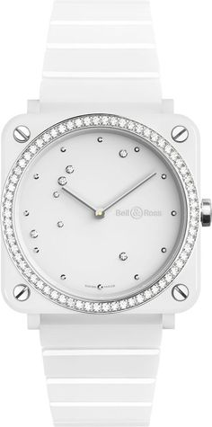 New all white Bell and Ross Instruments Aviation women's fashion watch with 66 diamonds set on the bezel and a white ceramic bracelet for the lowest price you'll find online Eagle Watch, Fine Watches, Women's Watches, Bell Ross, Silver Pocket Watch, Fashion Watches, Women's Fashion, Diamond Are A Girls Best Friend, Michael Kors Watch