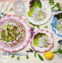 kurkku-retiisisalaattia ja lämmin perunasalaatti – siinä se – makumaailma, joka kuuluu kesään.