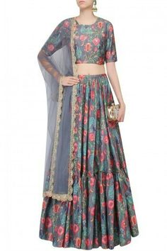 Payal Singhal presents Dark grey peacock and pomegranate print frilled lehenga set available only at Pernia's Pop Up Shop. Dulhan Dress, Lehnga Dress, Bollywood Dress, Bollywood Fashion, Indian Attire, Indian Ethnic Wear, Pakistani Outfits, Indian Outfits, Salwar Kameez