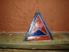 Stained glass pyramid candle holder 13cm x 13cm