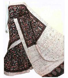 Black Hand Batik Pure Silk Saree