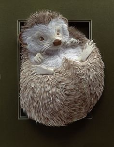 Paper Hedgehog by Calvin Nicholls via behance: Made from archival paper. #Sculpture #Paper #Hedgehog