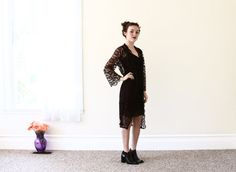 1940s black lace duster cardigan / sheer duster by aLaPlageVintage, $62.00