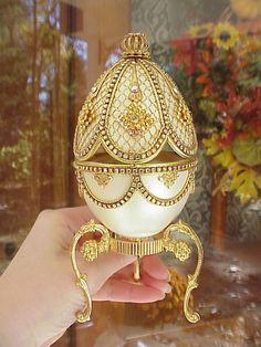 Decorated REAL Goose Egg Jewelry/Keepsake/Trinket Music Gift Box Swarovski Gold