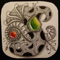 Another try with some gems. #Zentangle #zentanglegems #zengems #zendoodle #ZIA