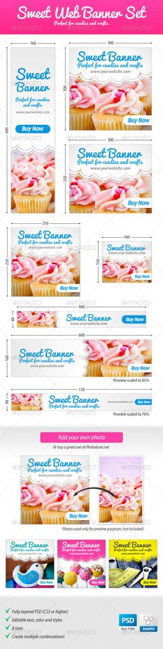 Sweet Web Banner Set — Photoshop PSD #marketing #sweet • Available here → https://graphicriver.net/item/sweet-web-banner-set/4519194?ref=pxcr