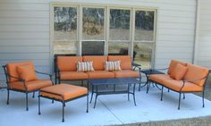 Patio Furniture Cast Aluminum 6pc Deep Seating Set with Outdoor Cushions in Bronze – Avalon