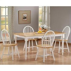 Boraam 80369 Farmhouse 5 Piece Dining Room Set White Natural