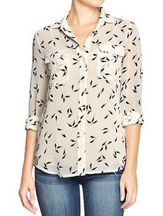 Women's Printed Chiffon Shirts | Old Navy