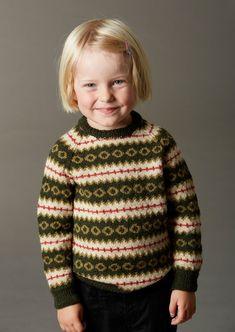 112 Børnesweater med raglanærmer og mønster i Yaku