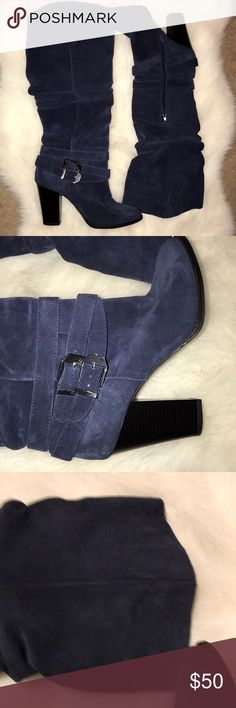 Blue suede wide calf boots Blue suede wide calf boots very gently used. Blue in color. Dark blue INC International Concepts Shoes Heeled Boots