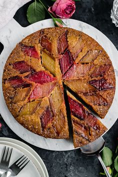 Upside down rhubarb cake with orange and cardamom Rhubarb Orange Cake, Rhubarb Upside Down Cake, Buckwheat Cake, Cake Works, Seafood Platter, Ober Und Unterhitze, Savoury Cake, Original Recipe, Clean Eating Snacks