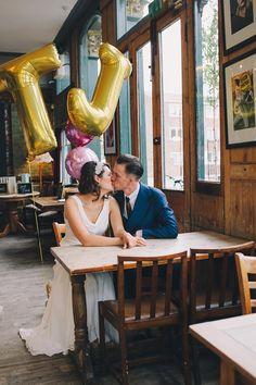 Stylish Sparkly London Pub Wedding Stoke Newington