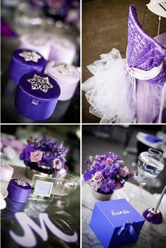 Purple wedding theme table setting