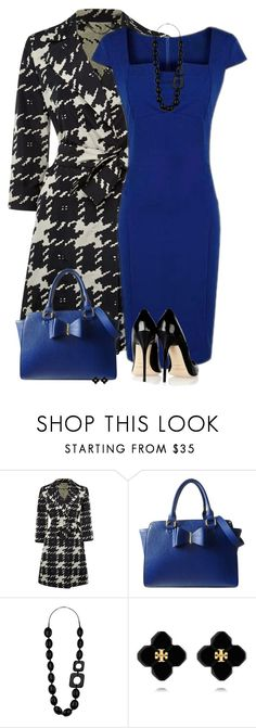 Houndstooth Coat by daiscat on Polyvore featuring Weekend Max Mara, Lipsy, Wallis, Tory Burch and Jimmy Choo