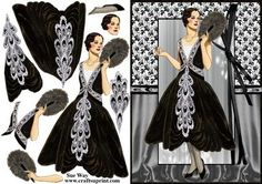 Art Deco Lady in Black and Silver Jewels Decoupage