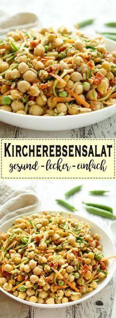 Ein veganer Ein veganer Kichererbsensalat muß nicht nur für Veganer gut sein. Dieser Salat schmeckt sehr lecker und ist für alle gesund. Ich habe Karotten und Zucchini in schmale Streifen geschnitten und dann noch frische Erbsen und getrocknete Tomaten dazu getan. Als Krönung nehmt Ihr noch geröstete Körner und geröstetes Sesamöl für das Dressing. Und den Knoblauch dürft Ihr natürlich nicht vergessen. Einfache gesunde Rezept - Elle Republic glutenfrei