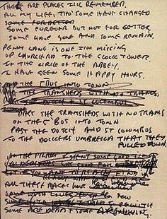 The Beatles' handwritten lyrics: In My Life, by John Lennon Beatles Songs, Beatles Quotes, Love Songs Lyrics, Music Lyrics, Music Love, Music Is Life, In My Life Beatles, Liverpool, Pop Musicians