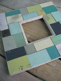 Scrap wood pieces made into a picture frame.