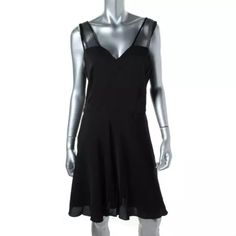 NWT*THEORY Devron Black Silk Mesh Inset Dress $400 Manufacturer: Theory Size: 4 Size Origin: US Manufacturer Color: Black Retail: $395.00 Condition: New with tags Style Type: Cocktail Dress Collection: Theory Silhouette: A-Line Sleeve Length: Sleeveless Closure: Hidden Side Zipper Dress Length: Above Knee, Mini Total Length: 37 Inches Bust Across: 15 1/2 Inches Waist Across: 13 1/2 Inches Material: Polyester/Silk/Spandex Fabric Type: Silk Specialty: Mesh Inset Theory Dresses