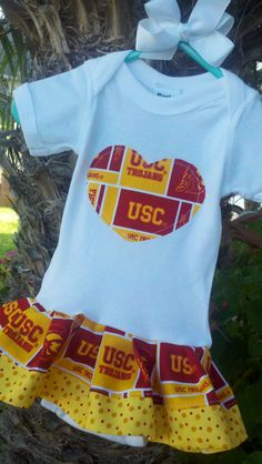 USC Trojans ONESIE Dress. Available newborn through 24mo. Boys shirt also Available.. $22.95, via Etsy.