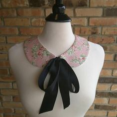 Very Sweet Pink Floral With Black Bow: Detachable Peter Pan Collar Necklace, Bib…