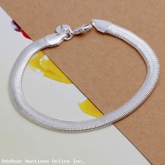 "925  Sterling Silver 6MM Flat Snake Chain - 8"" Bracelet"