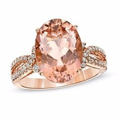 Oval Morganite And 1/5 Ct D/VVS1 Simulated Diamond Ring In 14K Rose Gold by JewelryHub on Opensky