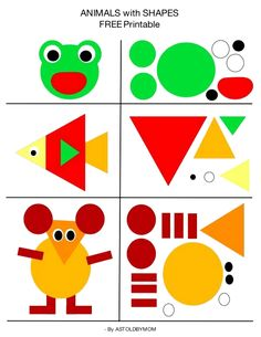 Create animals with shapes, shape art, shape cutouts for children in advance . - Create animals with shapes, shape art, shape cutouts for preschoolers – cutouts - Preschool Learning Activities, Preschool Printables, Toddler Activities, Preschool Activities, Toddler Worksheets, Nature Activities, Shape Activities For Preschoolers, Activities For Kindergarten, Animal Activities For Kids