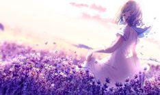 Anime Original Dress Flower Girl Short Hair Butterfly Wallpaper 2k Wallpaper, Spring Wallpaper, Wallpaper Backgrounds, Wallpapers, Purple Flowers Wallpaper, Butterfly Wallpaper, Anime Flower, Female Anime, Anime Angel