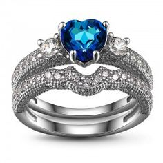 Blue Heart CZ 925 Sterling Silver Engagement / Wedding Ring Bridal Set (Processing Time: 5-10 Working Days)
