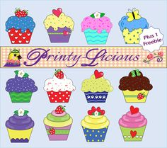 $3 12 Gorgeous Cupcake Cliparts for use on your next project plus 1 FREEBIE. Supplied in png and pdf formats. http://printylicious.weebly.com