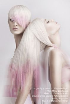Soft pink/platinum blonde ombre goodness paired with the perfect matching lip. How cool does it look! #hair #ombre